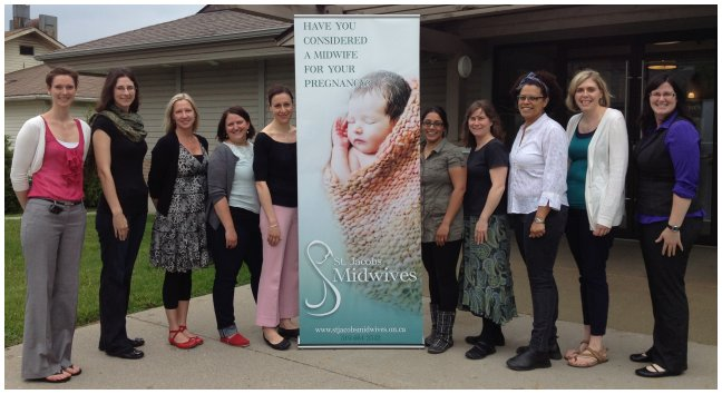 A photo of St. Jacobs Midwives in front of our St. Jacobs clinic.